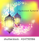 ramadan kareem greeting on... | Shutterstock .eps vector #414750586