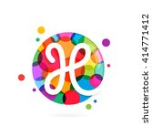 h letter logo in circle with... | Shutterstock .eps vector #414771412