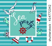 pattern with nautical elements... | Shutterstock .eps vector #414772342