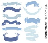 vector set of blue ribbons for... | Shutterstock .eps vector #414774616