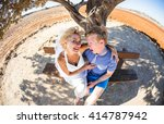 beautiful young couple having... | Shutterstock . vector #414787942
