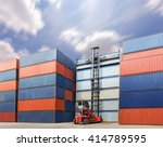 forklift handling the container ... | Shutterstock . vector #414789595