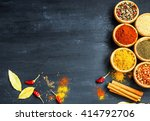 indian spices with ground... | Shutterstock . vector #414792706