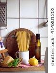 spaghetti  olive oil  cheese ... | Shutterstock . vector #414801202