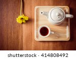 tea cups with teapot on old... | Shutterstock . vector #414808492