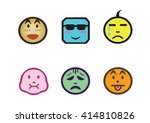 cartoon faces with difference... | Shutterstock .eps vector #414810826