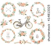 vintage flower bicycles   Shutterstock .eps vector #414813325