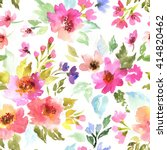 Stock photo spring pattern with flowers and plants watercolor floral illustration seamless pattern 414820462