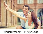 young brunette couple having... | Shutterstock . vector #414828535