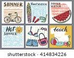 summer vacation cards.doodles... | Shutterstock .eps vector #414834226