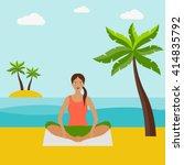 girl doing yoga in the beach... | Shutterstock .eps vector #414835792