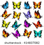 Stock vector big collection of colorful butterflies vector 414837082