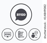 byod icons. human with notebook ... | Shutterstock .eps vector #414849082