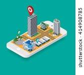 flat map gps navigation... | Shutterstock .eps vector #414908785