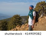 Bearded Man Hiker Stands On Th...