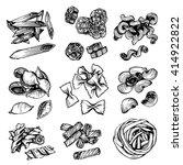 italian pasta vector sketch.... | Shutterstock .eps vector #414922822
