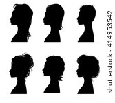 set of silhouettes of haircuts... | Shutterstock .eps vector #414953542