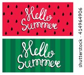 summer card with watermelon.... | Shutterstock .eps vector #414964906