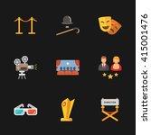nine modern cinema icons | Shutterstock .eps vector #415001476