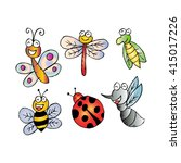 happy bugs and insects... | Shutterstock .eps vector #415017226