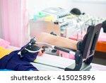 left leg of woman on... | Shutterstock . vector #415025896