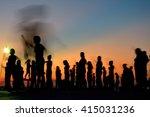 person  in mist silhouette... | Shutterstock . vector #415031236