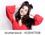pretty brunette with long hair... | Shutterstock . vector #415047538
