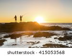 fishermen silhouettes at... | Shutterstock . vector #415053568