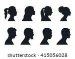 head  profile  woman  man ... | Shutterstock .eps vector #415056028