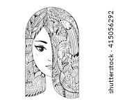 zen art girl. portrait of a... | Shutterstock .eps vector #415056292