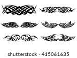 tribal tattoo pattern set   Shutterstock .eps vector #415061635