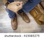 fashion man legs in indigo navy ...   Shutterstock . vector #415085275