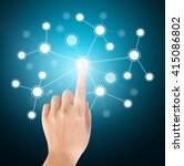 hand pressing modern social... | Shutterstock . vector #415086802