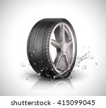 Car Wheel With Splashing Water...