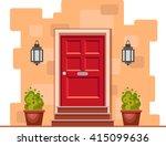 red front door on the yellow... | Shutterstock .eps vector #415099636