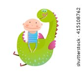 child and dragon friendly... | Shutterstock .eps vector #415108762