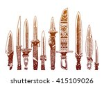 set of 10 tribal knives....
