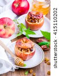 baked apples stuffed with dried ... | Shutterstock . vector #415110202