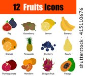 flat design fruits icon set in...
