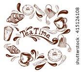 inscription tea time in the... | Shutterstock .eps vector #415126108