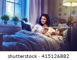 family reading bedtime. pretty... | Shutterstock . vector #415126882