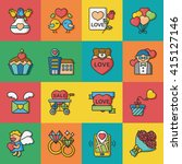 icon set valentines day vector | Shutterstock .eps vector #415127146