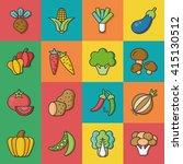 icon set vegetable vector | Shutterstock .eps vector #415130512