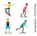 skateboarders characters set.... | Shutterstock .eps vector #415137436