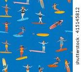 art deco beach surfing poster... | Shutterstock .eps vector #415145812