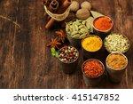 variety of spices  saffron ... | Shutterstock . vector #415147852