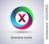 x letter colorful logo in the... | Shutterstock .eps vector #415155922