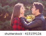 beautiful guy and woman resting ... | Shutterstock . vector #415159126