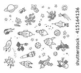 hand drawn space objects.... | Shutterstock .eps vector #415164136