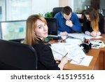 happy young businesswoman... | Shutterstock . vector #415195516